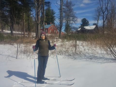 Cross country skier at Noble View Outdoor Center